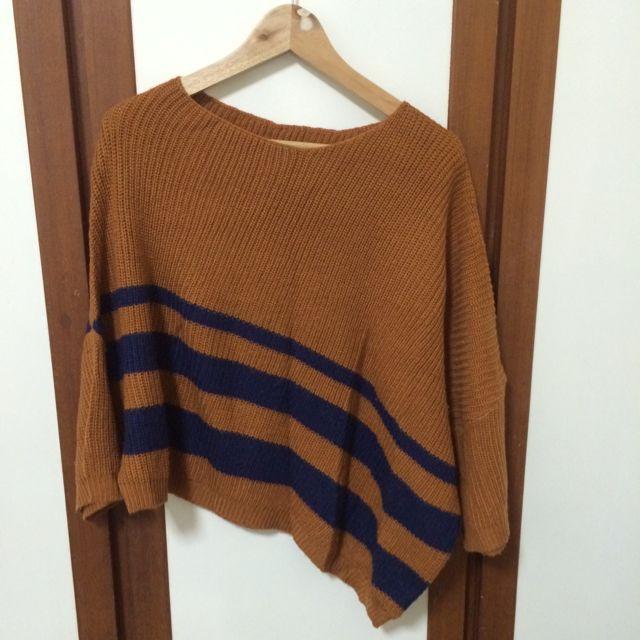 網路購入 橘棕色飛鼠袖不規則毛衣
