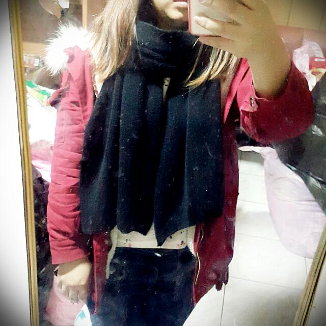 加寬厚圍巾-黑