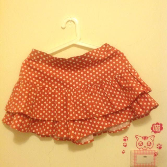 橘色點點 褲裙 9成新 短裙