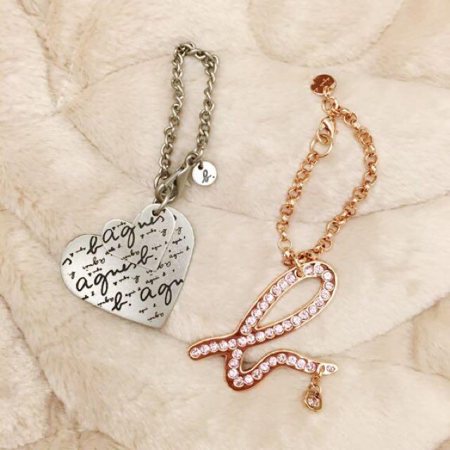 全新✨Agnes b 玫瑰金logo吊飾/愛心吊飾 情人節禮物