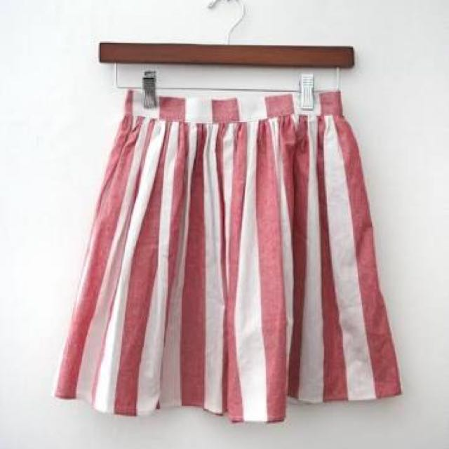 American Apparel Red And White Stripe Skirt - Size S