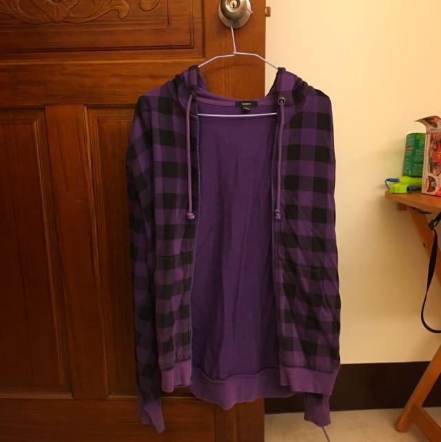 Bossini紫色紋格外套