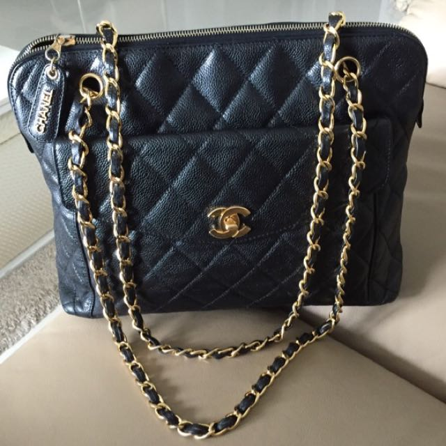 Sold Chanel 2 55 Cc Classic Turnlock Jumbo Maxi Tote Bag In Black Caviar And Shiny 24k Gold Hardware A Elegant Timeless Everyday Luxury On