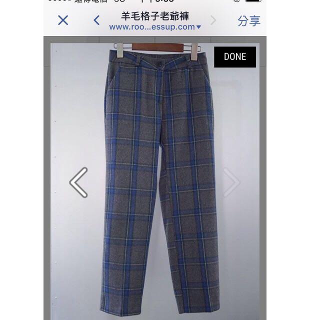 /含郵寄運/ Room4 羊毛格子老爺褲