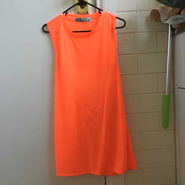 Velvet Villians Fluro Orange Open Back Dress