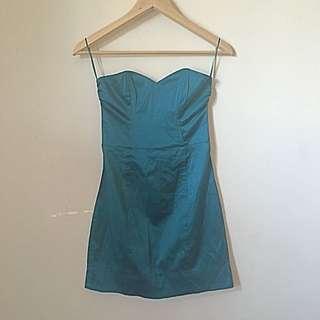 H&M Dark Turquoise Boned Tube Dress EUR32