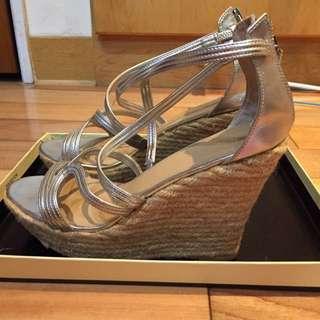 近全新Nine West銀色楔型涼鞋7.5號