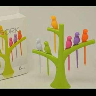🚚 創意樹梢小鳥水果叉