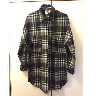 (保留)黑白條紋厚襯衫