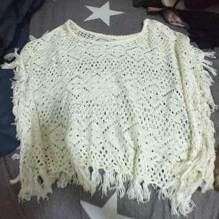 白色針織小罩衫民族風