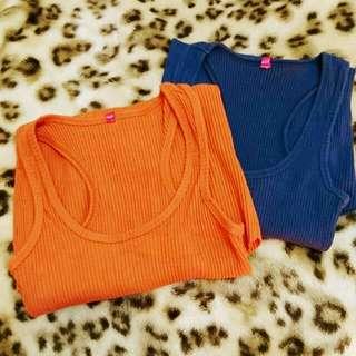 Air Sapce 羅紋挖背長版顯瘦橘紅+深藍背心
