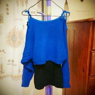 寶藍假兩件式長版毛衣