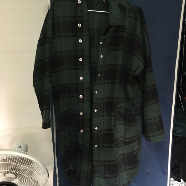 綠黑格子毛尼襯衫外套(保留