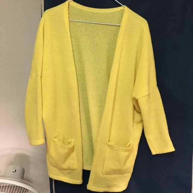 黃色針織外套
