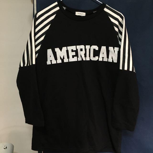 黑色袖條紋刷毛長版上衣