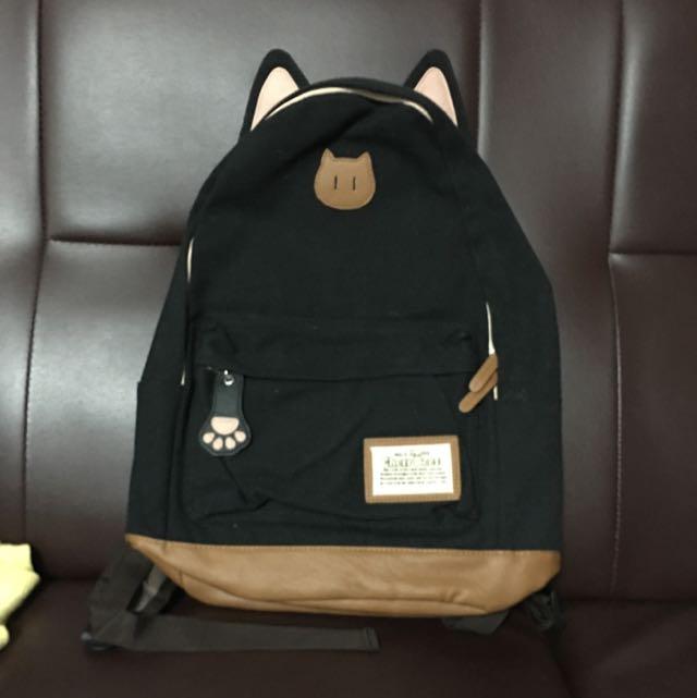 [二手]貓耳貓掌造型可愛帆布拼接人造皮革背包