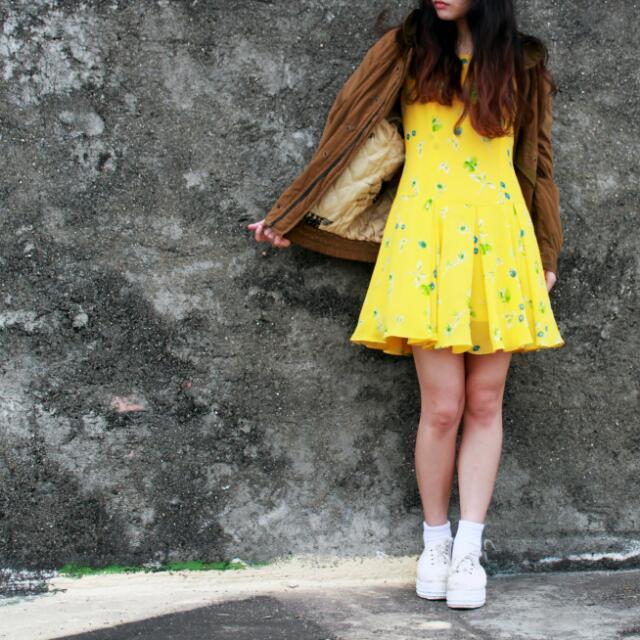 古著 鮮黃無袖碎花洋裝