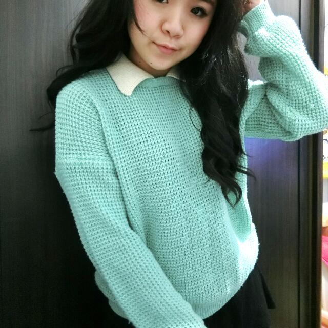 韓國購入 蒂芬尼綠毛衣  假兩件