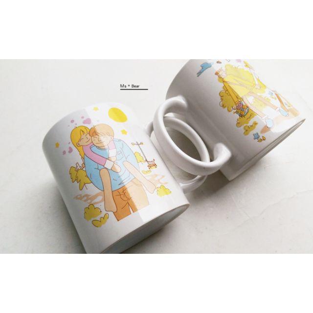 熱戀中... 插畫風格 情人節 甜蜜 情侶 陶瓷 馬克杯 情侶杯 情侶對杯  咖啡杯 對杯 攪拌棒 杯子 情人節禮物 生日禮物 陶瓷杯子 水杯