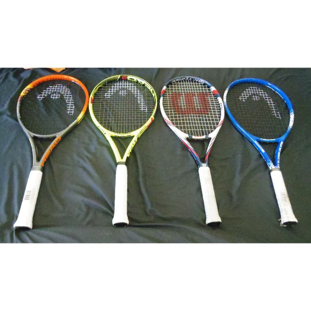 Assorted new/used tennis racquets (Head, Wilson)