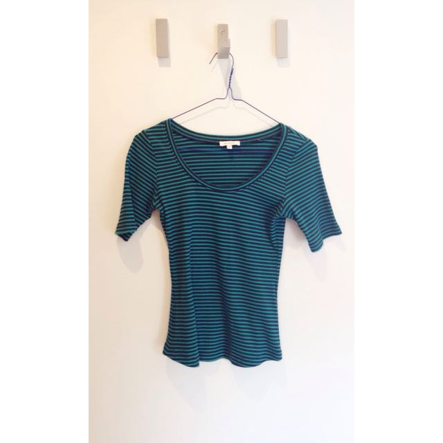 Black and green stripped top