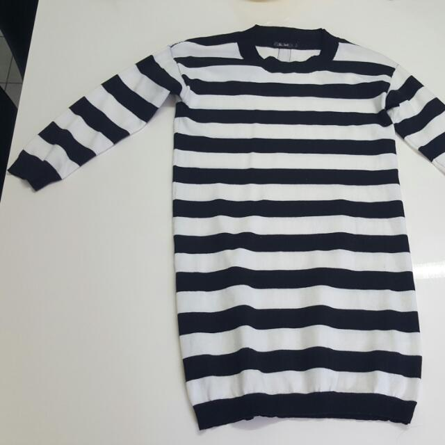 Black And White Striped Dress Size S