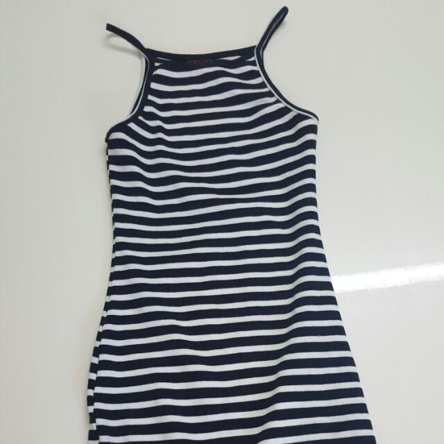 Black And White Striped Singlet Dress Size Small