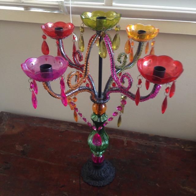 colourful 5 arm ishka candelabra