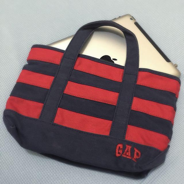 GAP kids 藍紅橫條紋 小手提袋