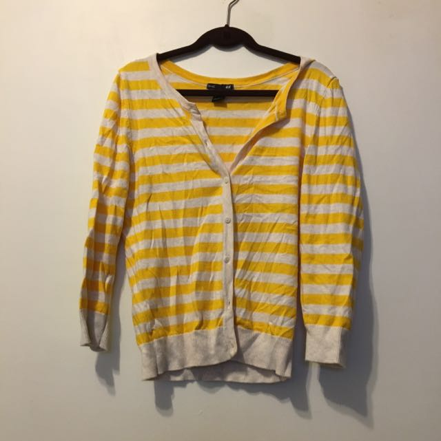 h&m條紋亮黃 針織外套