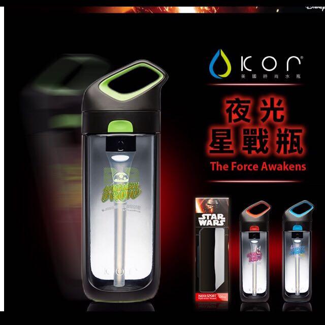 【美國KORwater】星際大戰系列夜光水瓶-BB-8(NAVA-黑綠/650ml)