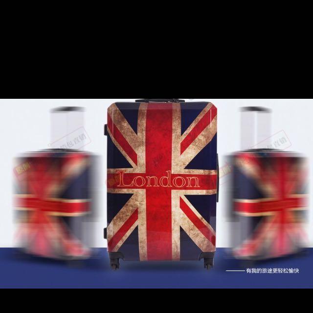 LONG HAIR 現貨全新特惠24吋英國國旗複古米字旗拉杆旅行箱 英倫時尚密碼行李箱