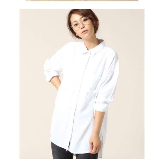 Lowrys Farm 人造絲長版白色襯衫L號