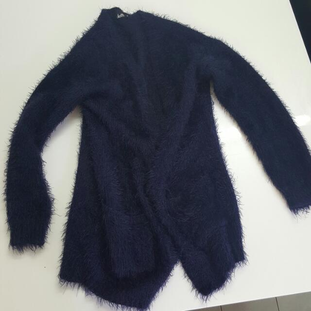 Navy Blue Fluffy Cardigan Size - XS
