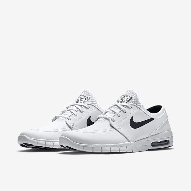 Nike SB Stefan Janoski Max White Black Leather Shoe 75da832d5