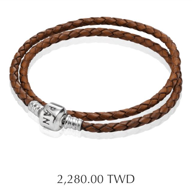 PANDORA 潘朵拉 皮繩 Moments Double Woven Leather Bracelet - Brown