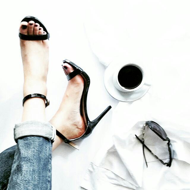 Payless One Strip Black Heels