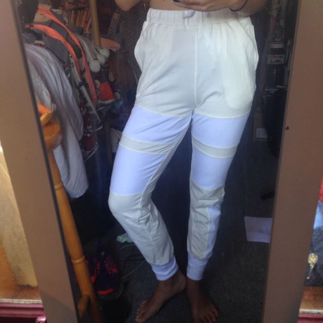 White and Cream Tracksuit Pants NEVER WORN
