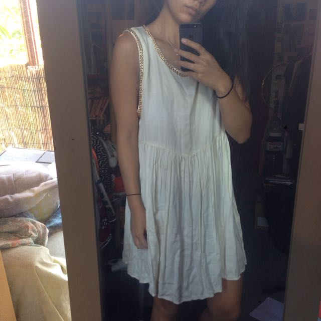 White Beach Dress with Gold Chain Detail Size 10