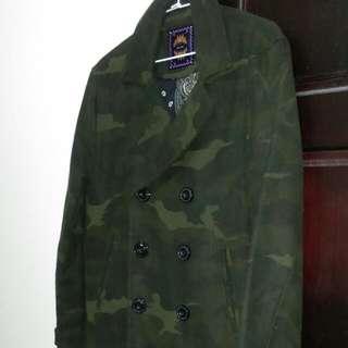 (全新)日單雙排釦迷彩鋪棉外套