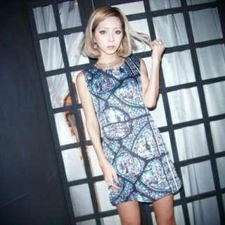 Murua 2013ss Vivi雜誌款教堂玻璃風無袖修身洋裝