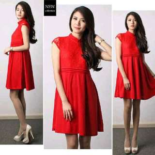 Red Dress With Mandarin Collar