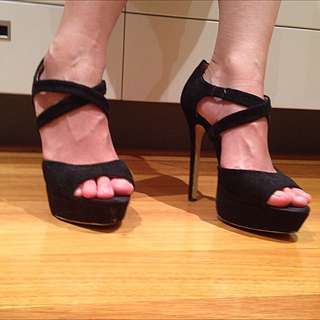 Famous Footwear Black Strappy Heels