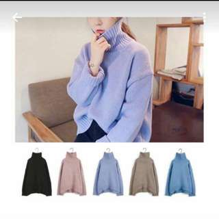高領 針織毛衣 全新 淺藍