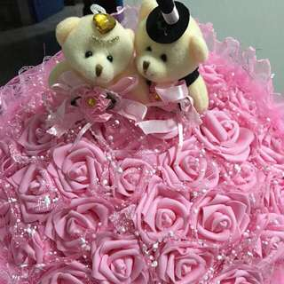 33 Pink Rose With Teddy