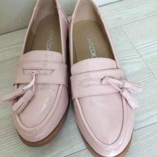 全新!嫩粉色 真皮樂福鞋 流蘇可拆 36號