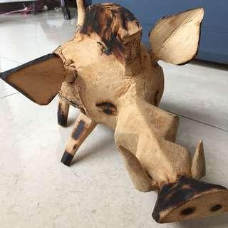 木頭野豬 非洲帶回的手工藝品