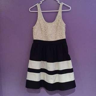 Women's Blossom Black And White Dress