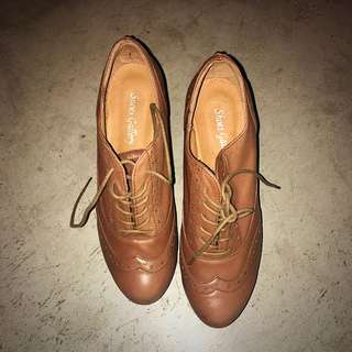 Camel Leather Brogue Wedges