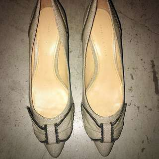 Charles & Keith Off White/ Grey Pointed Toe Kitten Heels